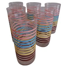 Anchor Hocking Water Tumblers - 4 Colors of Horizontal Bands - Set of 6