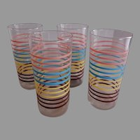 Anchor Hocking Water Tumblers - 4 Colors of Horizontal Bands - Set of 4
