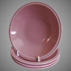 "Vernon Kilns ""Ultra California"" Pink Carnation Fruit Bowls - Set of 4"