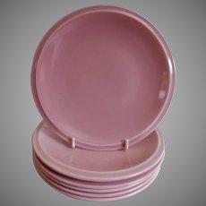 "Vernon Kilns ""Ultra California"" Pink Carnation Bread & Butter Plates - Set of 6"