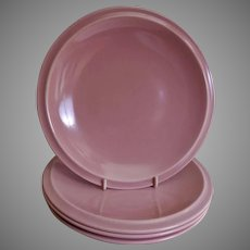 "Vernon Kilns ""Ultra California"" Pink Carnation Salad/Dessert Plates - Set of 4"