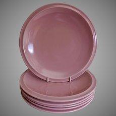 "Vernon Kilns ""Ultra California"" Pink Carnation Luncheon Plates - Set of 6"