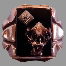 Vintage 10K Yellow Gold Elk's Lodge (BPOE) Ring w/Onyx & Diamond