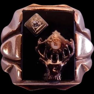 Vintage 10K Yellow Gold Elk's Lodge (BPOE) Ring w/Onyx & Diamond