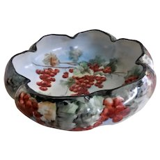 Hand Painted Porcelain Footed Nut/Candy Bowl w/Red Currants Motif