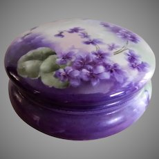 Limoges France Hand Painted Dresser/Jewelry Box w/Wild Violets Motif