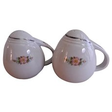 "Hall China Company Sani Grid ""Rose White"" Salt & Pepper Set"