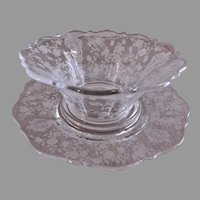 "Cambridge Etched Clear Glass ""Rose Point"" Pattern Mayonnaise Bowl and Underplate"