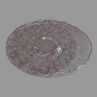 "Cambridge Etched Clear Glass ""Rose Point"" Pattern Rolled Edge 3-Toed Plate"