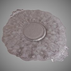 "Cambridge Etched Clear Glass ""Rose Point"" Pattern Handled Cake Plate"