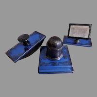 Art Nouveau 3-Piece Desk Set - Inkwell, Blotter & Calendar