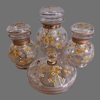 Czech Bohemian Floral Enameled Glass 4-Piece Dresser/Vanity Set