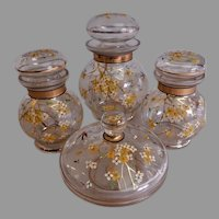 Czech Bohemian Floral Enameled Glass 4-Piece Dresser/Vanity Set