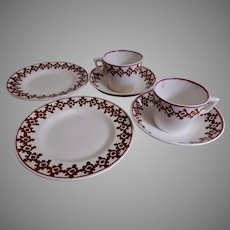 19th Century Staffordshire Stick Spatterware 6-Piece Set Child's Dishes