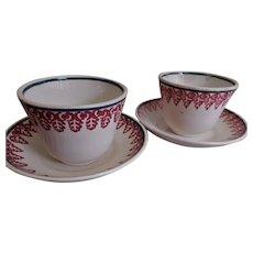 Royal Ironstone China Stick Spatterware - Pair Handleless Cups & Saucers