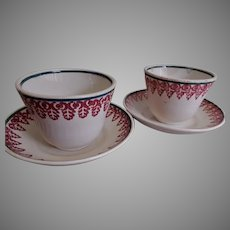 Royal Ironstone China Stick Spatterware - Pair Handleless Cups & Saucers