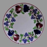 Stick Spatterware Dinner Plate w/Virginia Rose Pattern