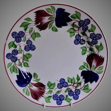 Stick Spatterware Dinner Plate w/Virginia Rose Pattern