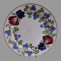 Stick Spatterware Luncheon Plate w/Virginia Rose Pattern