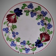 Stick Spatterware Luncheon Plate w/Virginia Rose Pattern