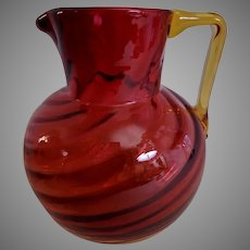 Amberina Glass Water Pitcher w/Inverted Swirl Pattern & Applied Amber Handle