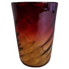 Amberina Glass Tumbler w/Inverted Swirl Pattern