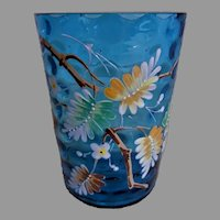 Bohemian/Czech Blue Thumbprint Hand Painted Tumbler