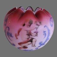 Cranberry Satin Glass Rose Bowl w/Cherub, Scroll & Floral Decorations