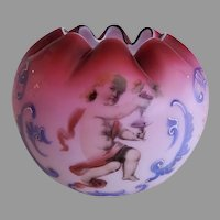 Cranberry Satin Glass Rose Bowl w/Cherub, Scroll & Floral Decorations