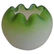 Bohemian Green Satinized Glass Rose Bowl