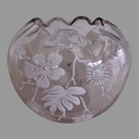 Bohemian Clear Glass Rose Bowl w/White Enamel Floral Motif