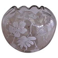 Bohemian Clear Glass Rose Bowl w/White Enamel Floral Motif