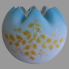 Victorian Era Blue Satin Glass Rose Bowl w/Enameled Leaf Motif
