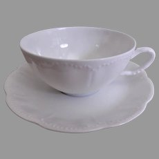 Charles Haviland & Co. Limoges - Blank #5 Plain White Cups & Saucers - Set of 6