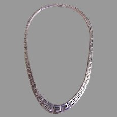 "Mexican Silver ""950"" Greek Key Design Cleopatra Choker Necklace"
