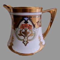 "Pickard Studio H.P. ""Dahlia & Raised Gold w/Lustre"" Pitcher"