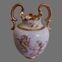 Art Nouveau Porcelain Vase w/Cherubs & Floral Motif