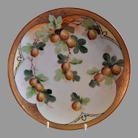 "Pickard Studio Hand Painted ""Gooseberries"" Pattern Cabinet Plate - F Walters"