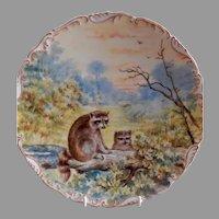 "T&V Limoges H.P. ""Raccoons"" Game Plate - Artist Signed"