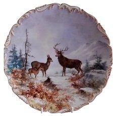 "T&V Limoges H.P. ""Deer Family"" Game Plate - Artist Signed"