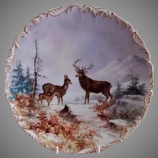 "T&V Limoges H.P. ""Deer Family"" Game Plate - Artist Signed"