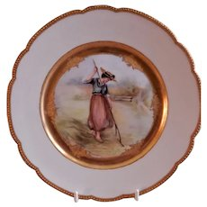 Jean Pouyat (JPL) Limoges H.P. Plate of Victorian Lady Racking Autumn Leaves