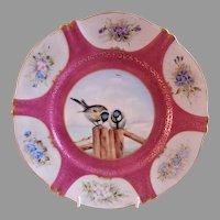 "Theodore Haviland H.P. ""Chickadees & Flowers"" Plate - Artist Signed J Blaha"