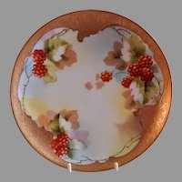 """Pickard Studio """"Raspberries & Etched Gold"""" Cabinet Plate - Signed Coufall"""