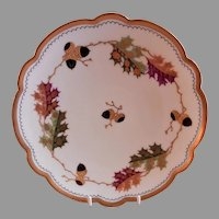 "Pickard Studio Hand Painted ""Oak Leaves & Acorns"" Cabinet Plate"