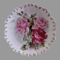 "Z. S. & Co. Bavaria ""Punch"" Cabinet Plate w/Floral Roses Transfer Motif"
