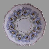 "Z. S. & Co. Bavaria ""Punch"" Cabinet Plate w/Floral Pansy Transfer Motif"