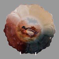 "Z. S. & Co. Bavaria ""Punch"" Cabinet Plate w/Mallard Drake Duck Transfer Motif"