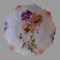"""Z. S. & Co. Bavaria """"Punch"""" Cabinet Plate w/Pansy Blossoms & Buds Transfer Motif"""