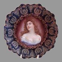 "Z. S. & Co. Bavaria ""Punch"" Cabinet Plate w/Royal Vienna Portrait Transfer Motif"